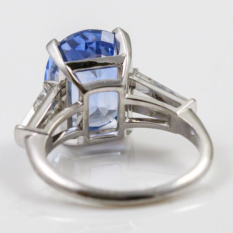 8.45 Carat Ceylon Sapphire Baguette Cut Diamond Platinum Ring 3