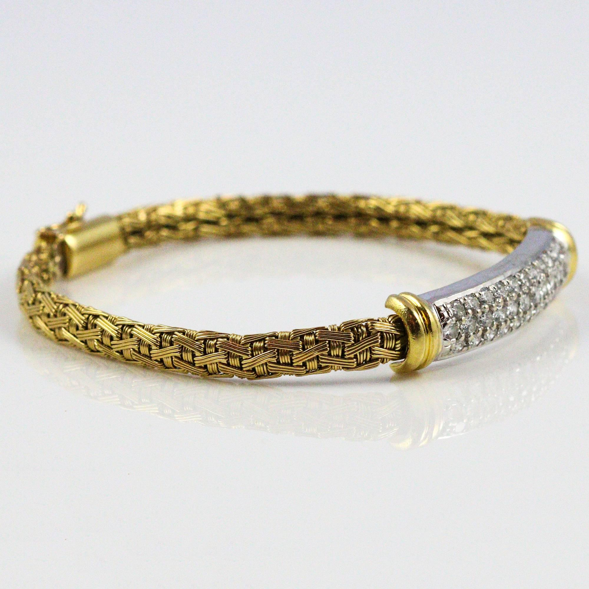 pave in round bangle bangles diamond vintage img estate white bracelet gold