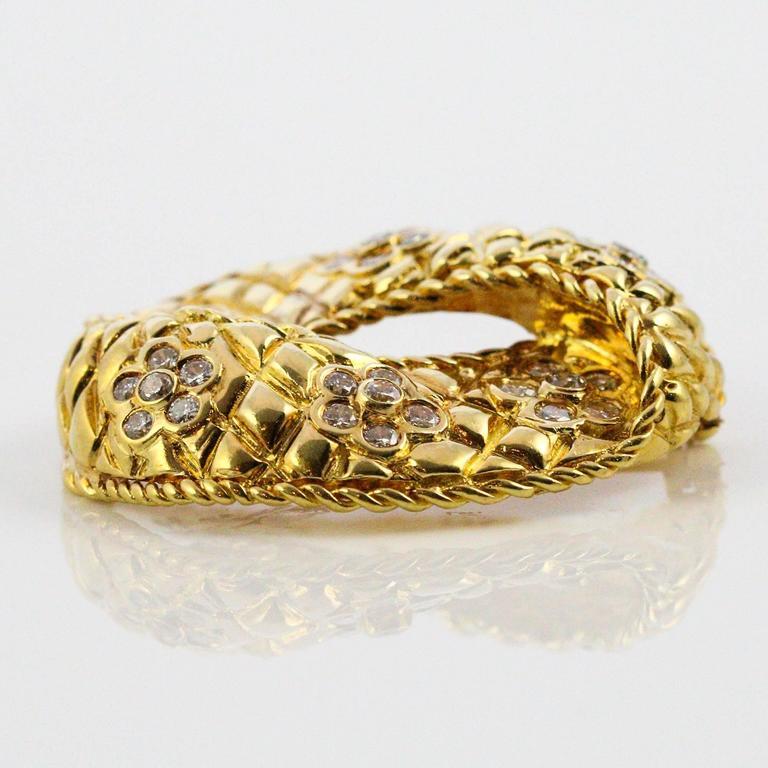 Women's or Men's Modernist Diamond Yellow Gold Brooch For Sale