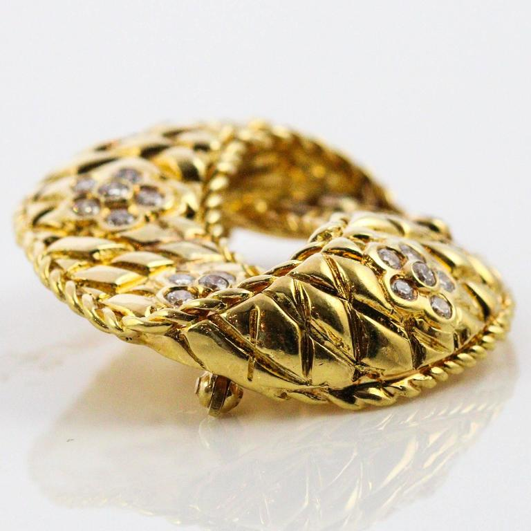 Modernist Diamond Yellow Gold Brooch For Sale 2
