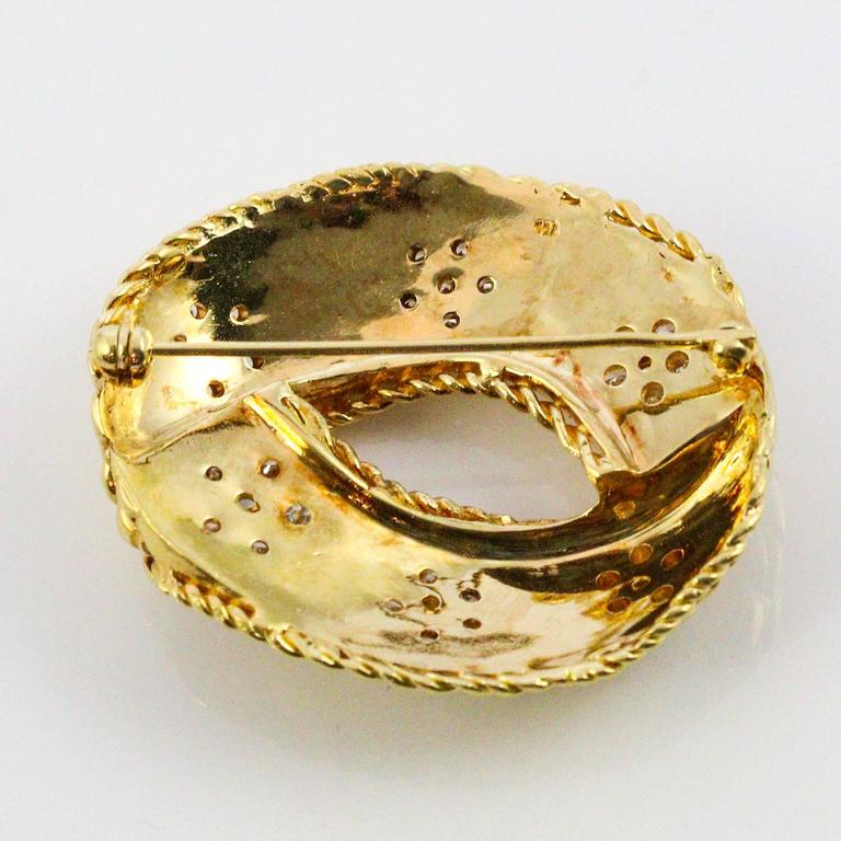 Modernist Diamond Yellow Gold Brooch For Sale 3