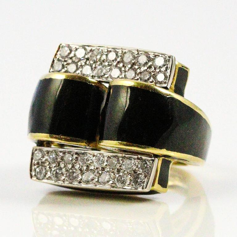 modernist black enamel diamonds white and yellow gold ring