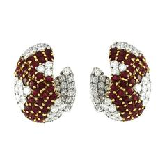 Genuine Ruby Diamond Yellow and White Gold Cluster Earrings