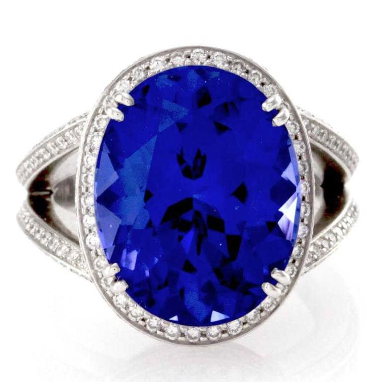 oval tanzanite pav 233 white gold ring for sale at