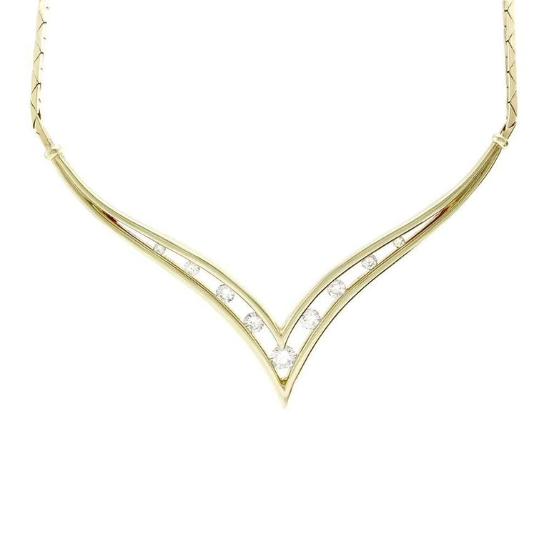 Vintage Chevron Diamond Necklace In 18k Yellow Gold At 1stdibs