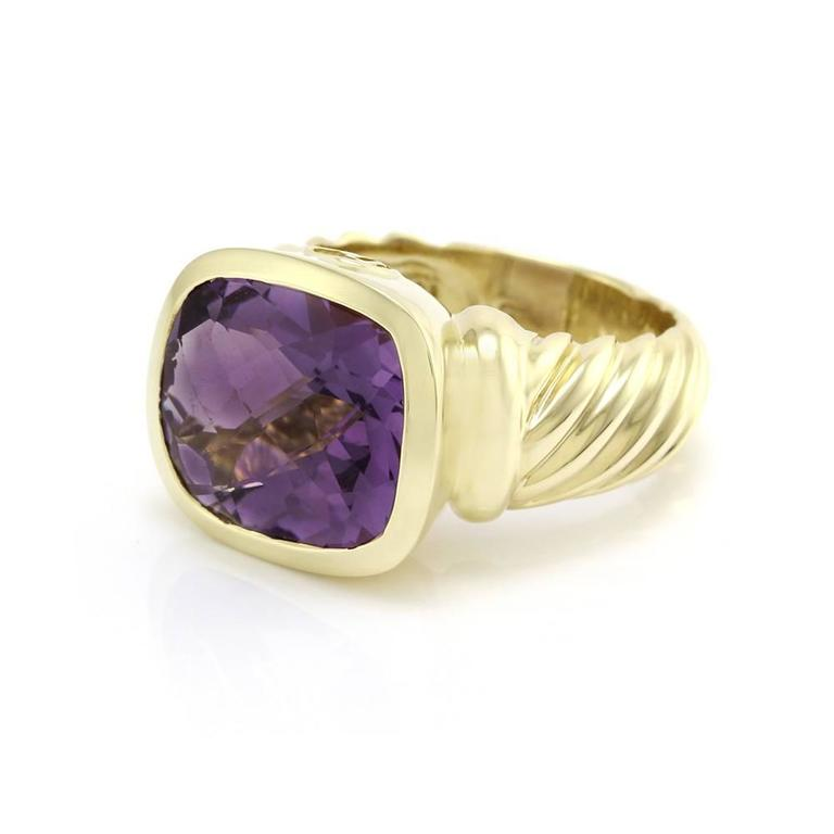 signed designer david yurman noblesse collection amethyst ring in 18ky gold 1