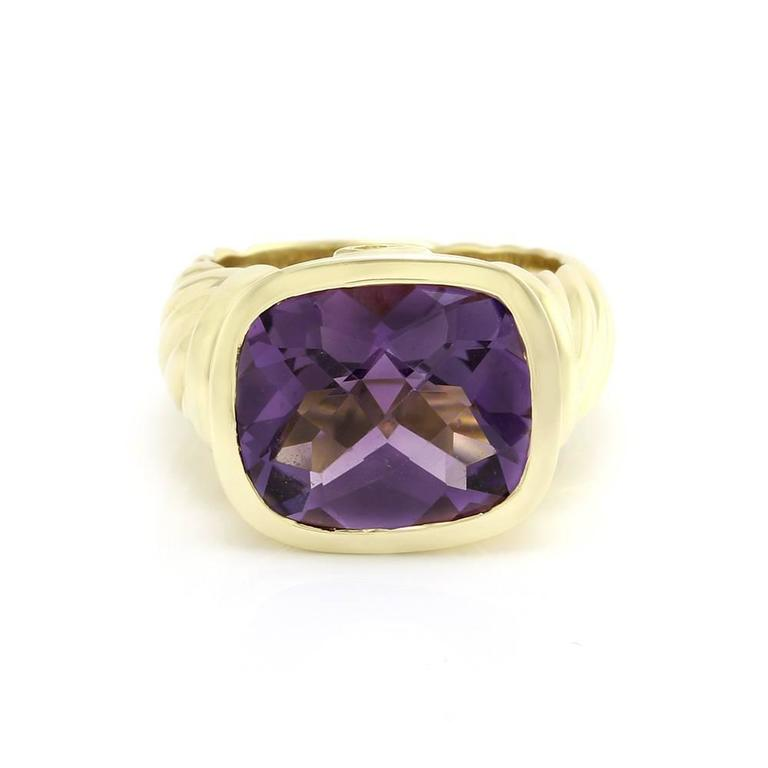 signed designer david yurman noblesse collection amethyst ring in 18ky gold 3