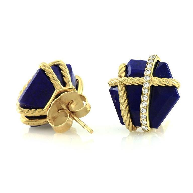 david yurman cable wrap lapis pav 233 gold earrings