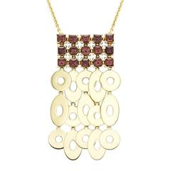 Bulgari Garnet Gold Cluster Dangle Necklace