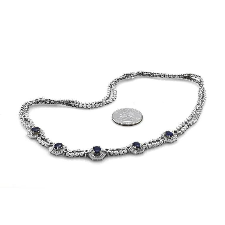 Sapphire Diamond Gold Double Strand Necklace 3