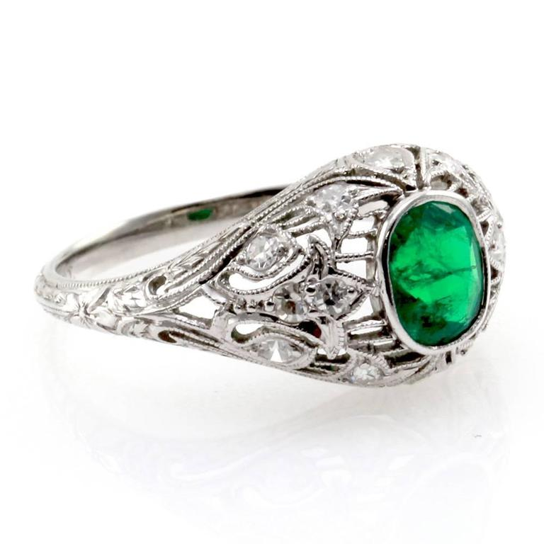 emerald and platinum filigree ring for sale at 1stdibs