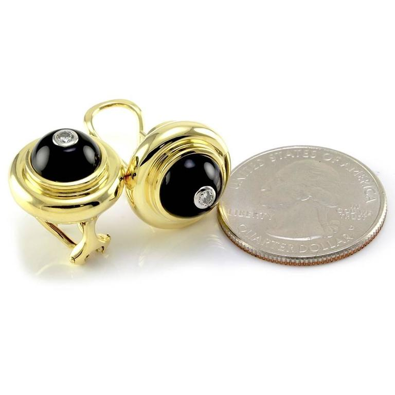 Tiffany & Co. Paloma Picasso Black Onyx  Diamond Gold Earrings  5