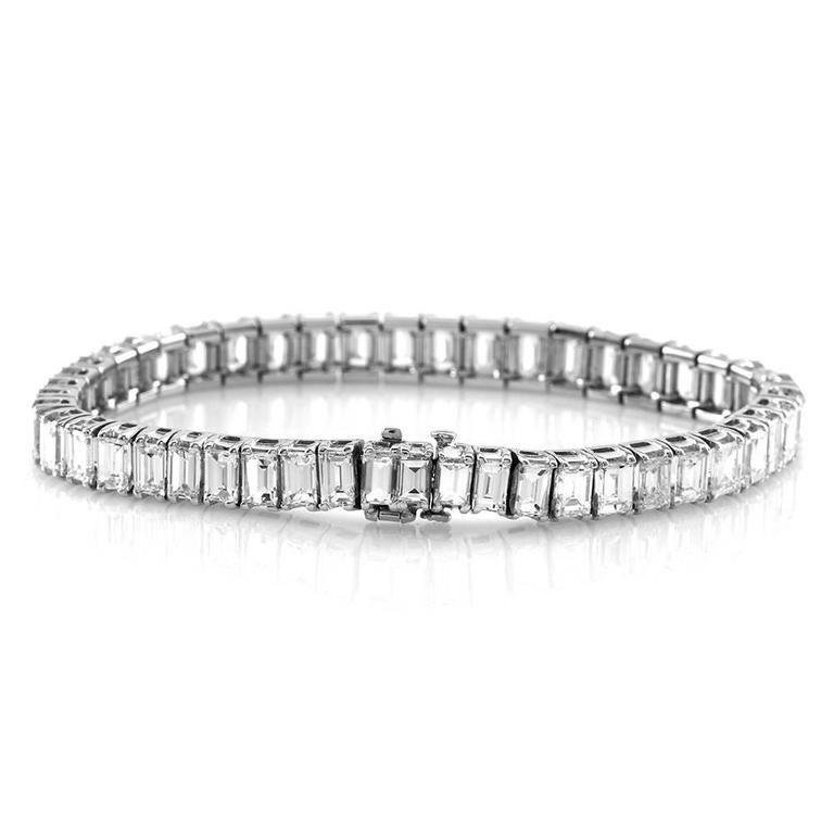 Baguette Cut Diamond Platinum Tennis Bracelet For Sale At