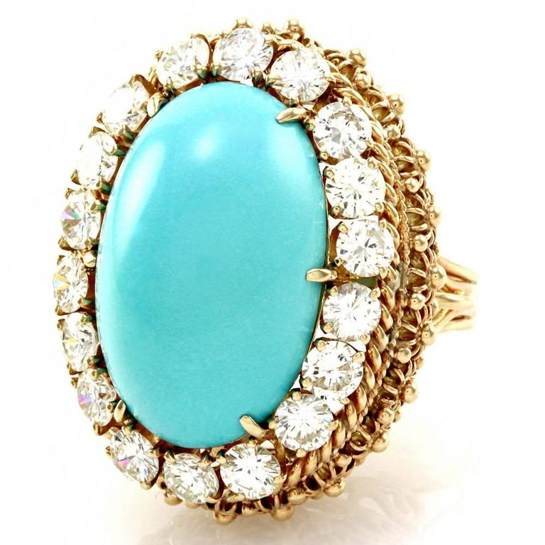 Persian Turquoise Cabochon Diamond Halo Gold Ring  3