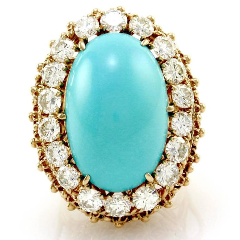 Persian Turquoise Cabochon Diamond Halo Gold Ring  2