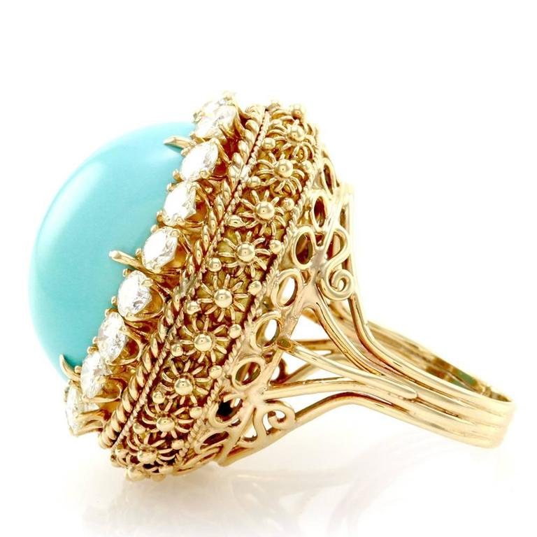 Persian Turquoise Cabochon Diamond Halo Gold Ring  4