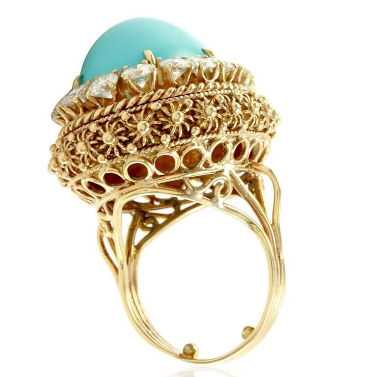 Persian Turquoise Cabochon Diamond Halo Gold Ring  5