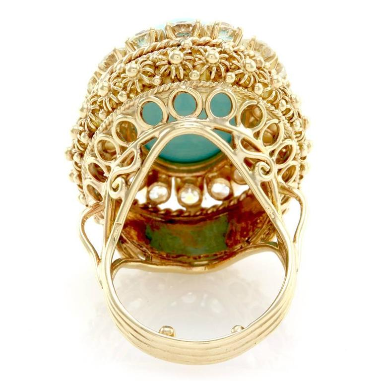 Persian Turquoise Cabochon Diamond Halo Gold Ring  6