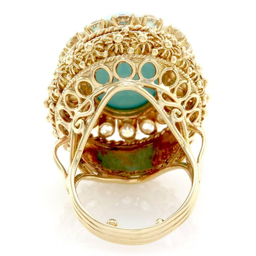 Persian Turquoise Cabochon Diamond Halo Gold Ring For Sale