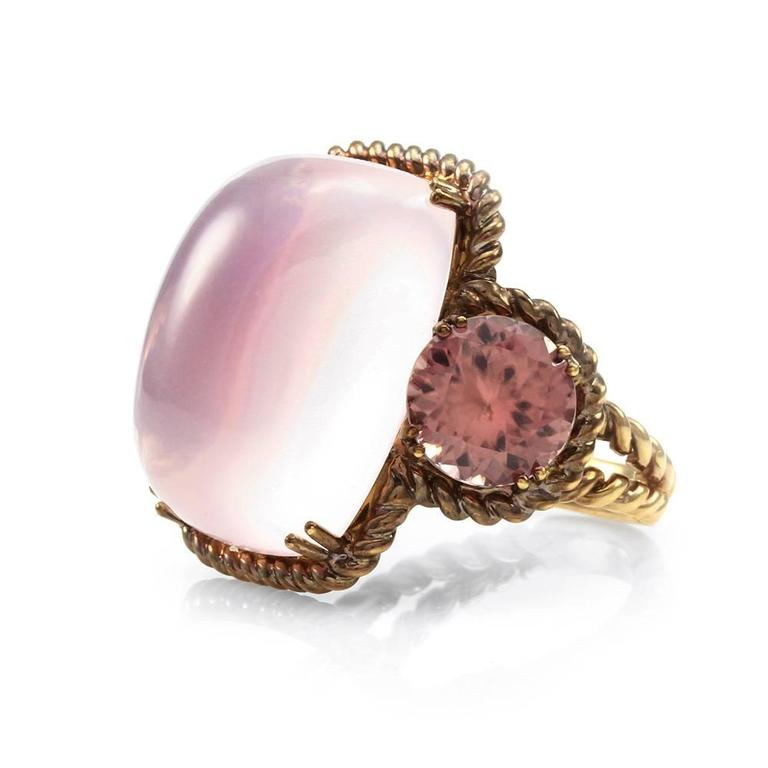 Rose Quartz and Pink Zircon Ring in Rose Finished Gold 3