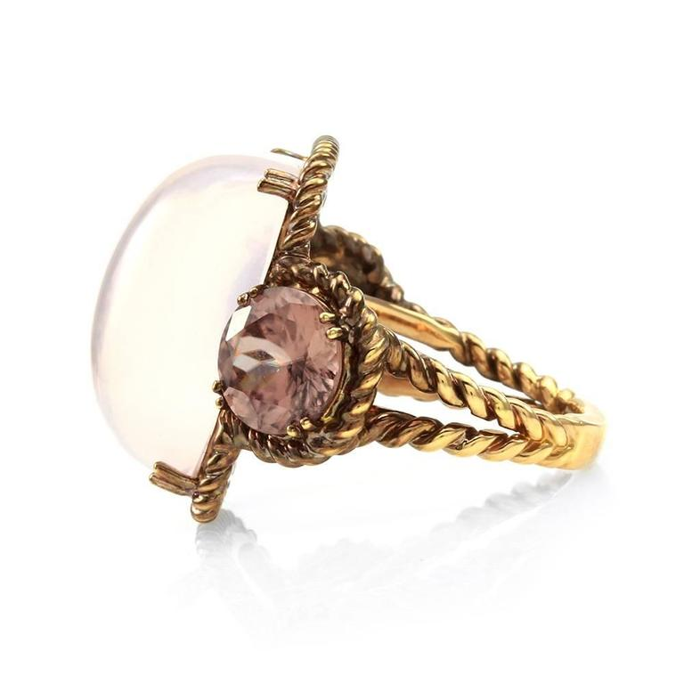 Rose Quartz and Pink Zircon Ring in Rose Finished Gold 4