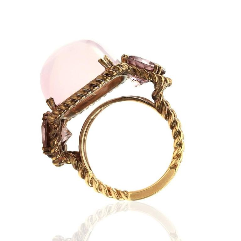 Rose Quartz and Pink Zircon Ring in Rose Finished Gold 5