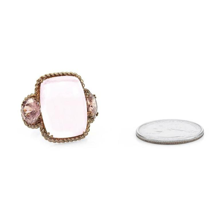 Rose Quartz and Pink Zircon Ring in Rose Finished Gold 6