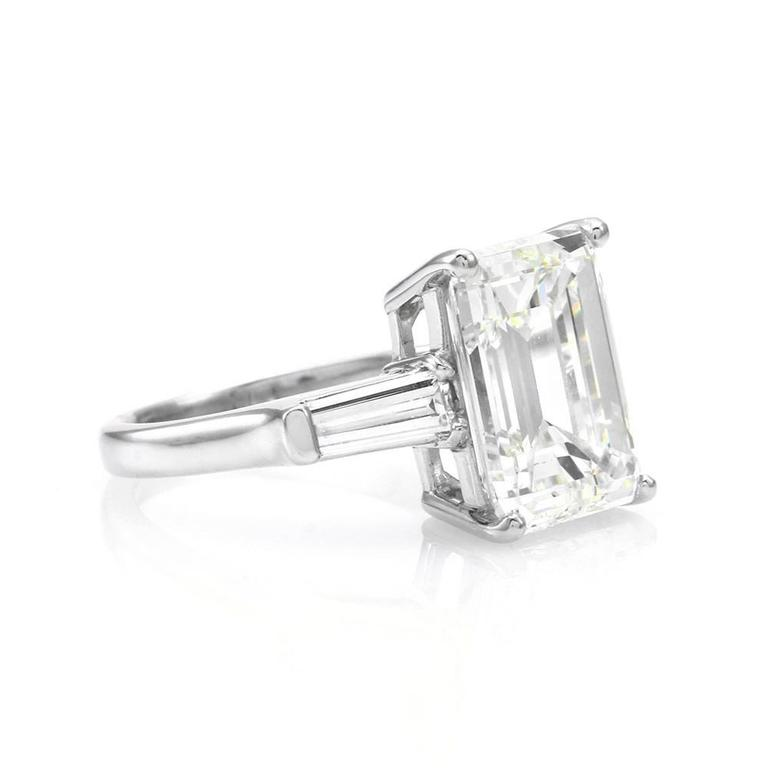 GIA Certified Emerald Cut Diamond Engagement Ring with Diamond Accents For Sa