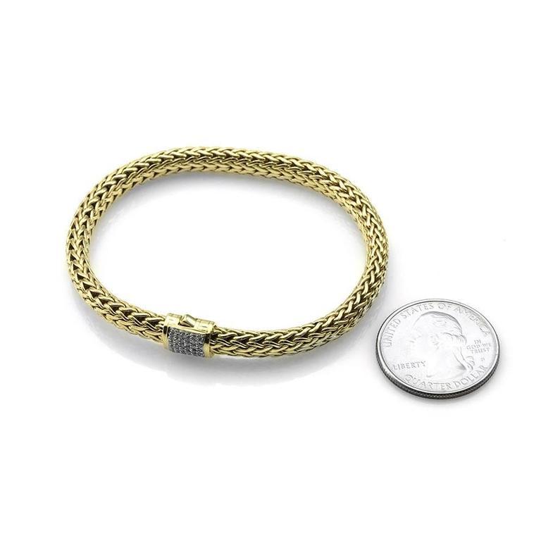 John Hardy Gold Classic Wheat Bracelet With Pav 233 Diamond