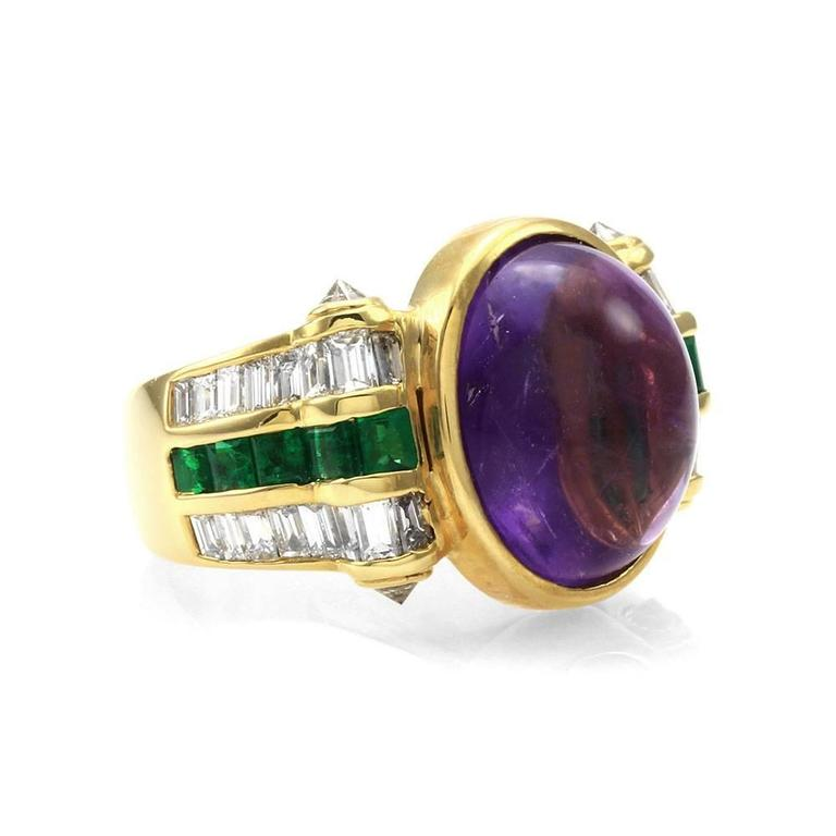 cabochon amethyst ring with emerald and accents