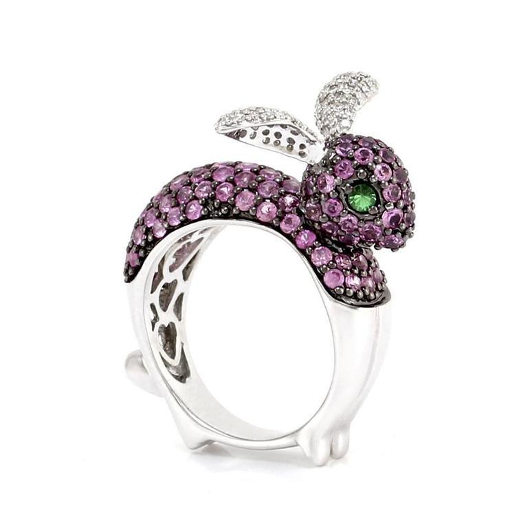 multi color pav 233 gemstone buuny ring for sale at 1stdibs