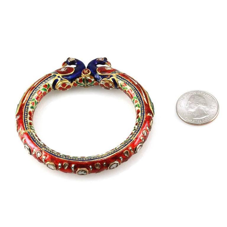 hindu enamel cut peacock gold wedding bangle