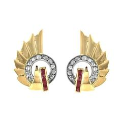 Art Deco Diamond and Synthetic Ruby Earrings in Gold