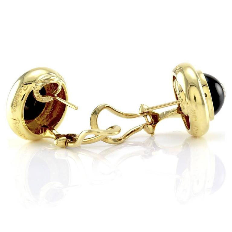 Tiffany & Co. Paloma Picasso Black Onyx  Diamond Gold Earrings  4