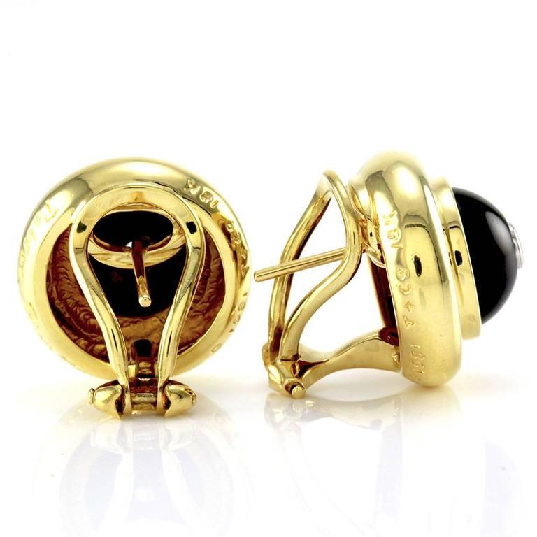 Tiffany & Co. Paloma Picasso Black Onyx  Diamond Gold Earrings  3