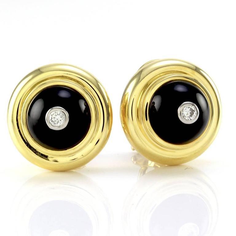 Tiffany & Co. Paloma Picasso Black Onyx  Diamond Gold Earrings  2