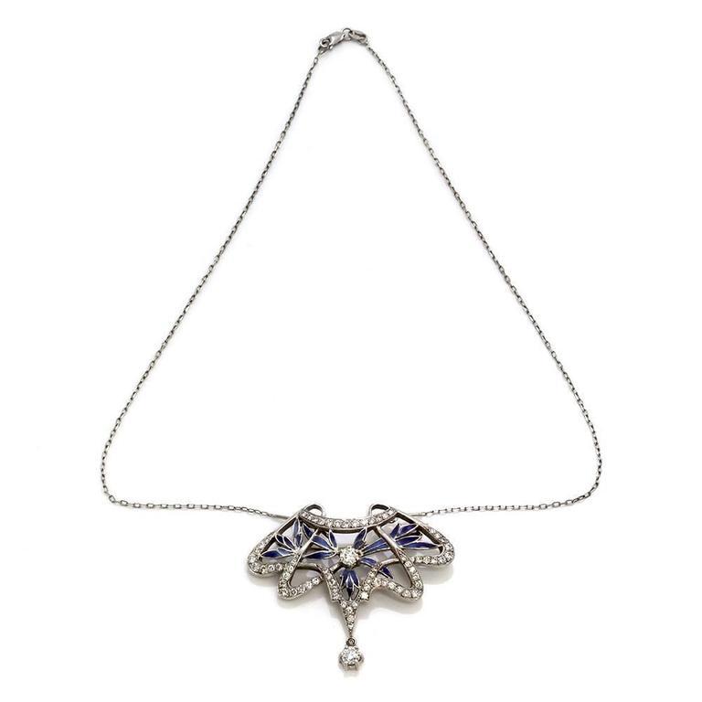 nouveau 1910 arctic collection ensueno enamel diamond gold