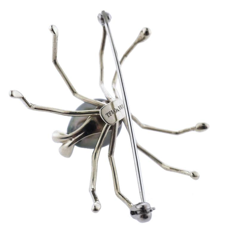 Women's or Men's Black South Sea Pearl Diamond Spider Brooch For Sale