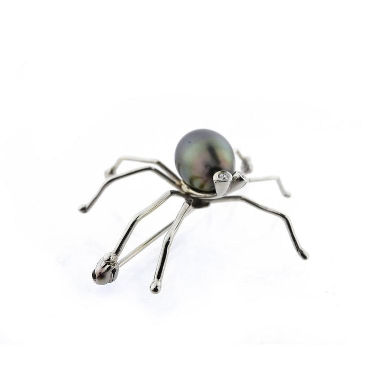 Black South Sea Pearl Diamond Spider Brooch In As New Condition For Sale In Yardley, PA