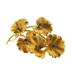 Tiffany & Co. Sapphire Yellow Gold Flower Pin