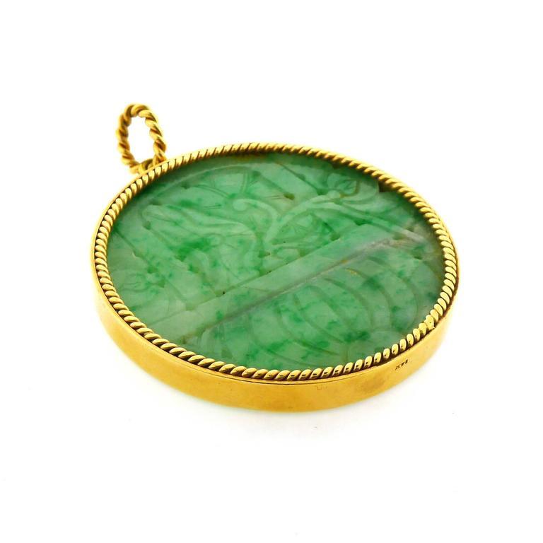 Carved Jadeite Gold Pendant 2