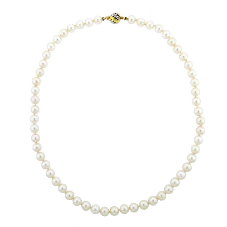 Cultured Pearl Necklace with Gold and Diamond Clasp