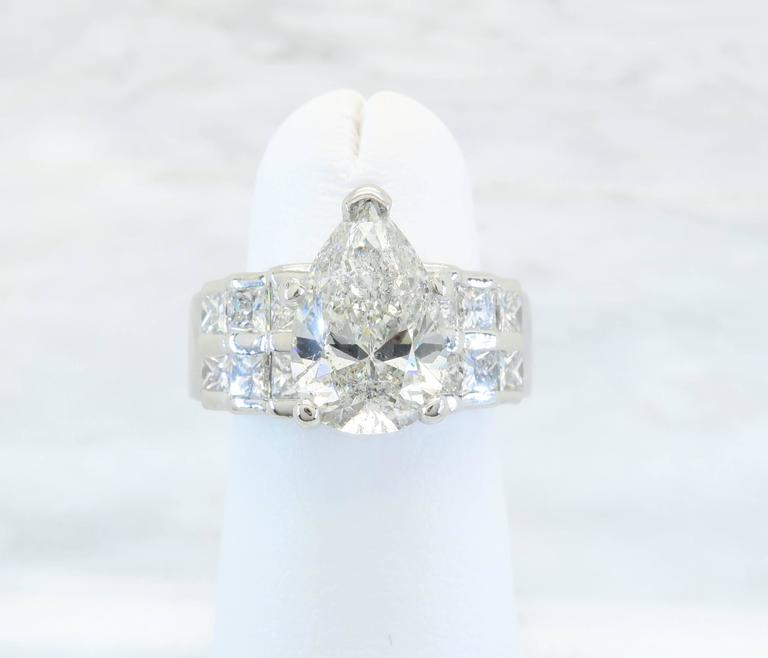 2 50 Carat Pear Shaped Diamond Platinum Ring For Sale at 1stdibs