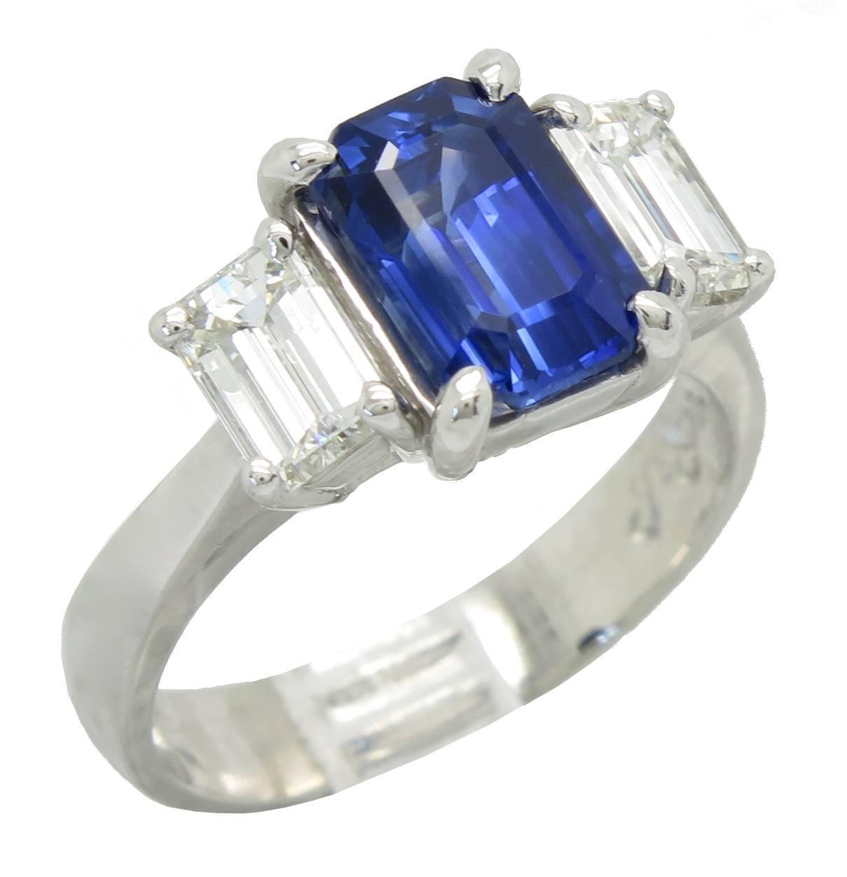 Jb Star Blue Sapphire Diamond Platinum Ring For Sale At