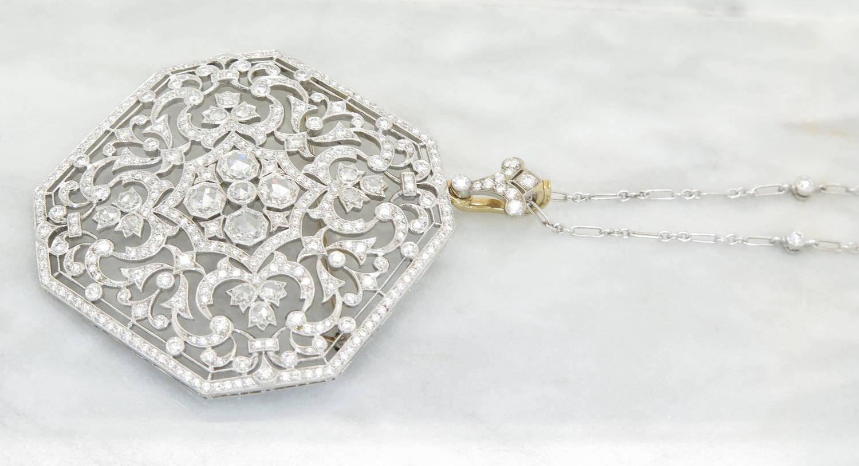 Kwiat Octagonal Diamond Gold Pendant For Sale At 1stdibs