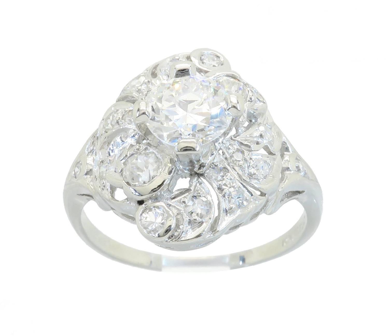 Platinum 1 39 Carat Intricate Diamond Ring For Sale at 1stdibs