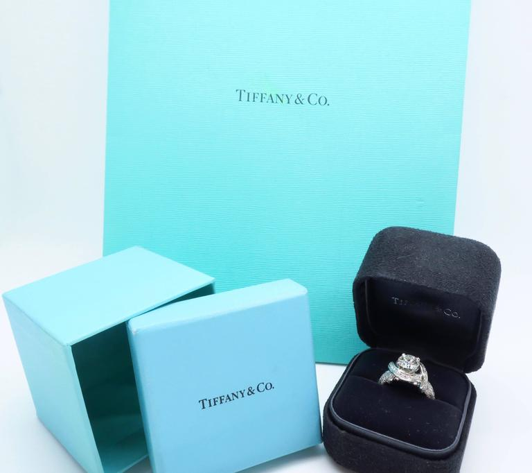 Tiffany & Co. Schlumberger Signature Diamond Platinum Engagement Ring In Excellent Condition For Sale In Webster, NY