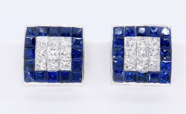 1.44 Carat Sapphire Diamond White Gold Omega Back Earrings In Excellent Condition For Sale In Webster, NY