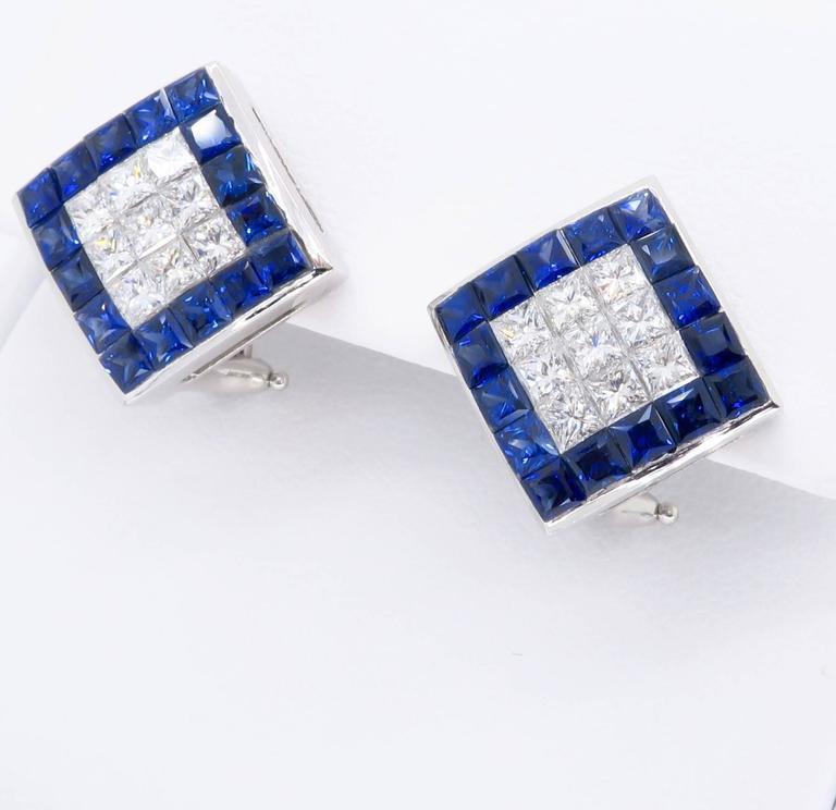 Women's or Men's 1.44 Carat Sapphire Diamond White Gold Omega Back Earrings For Sale