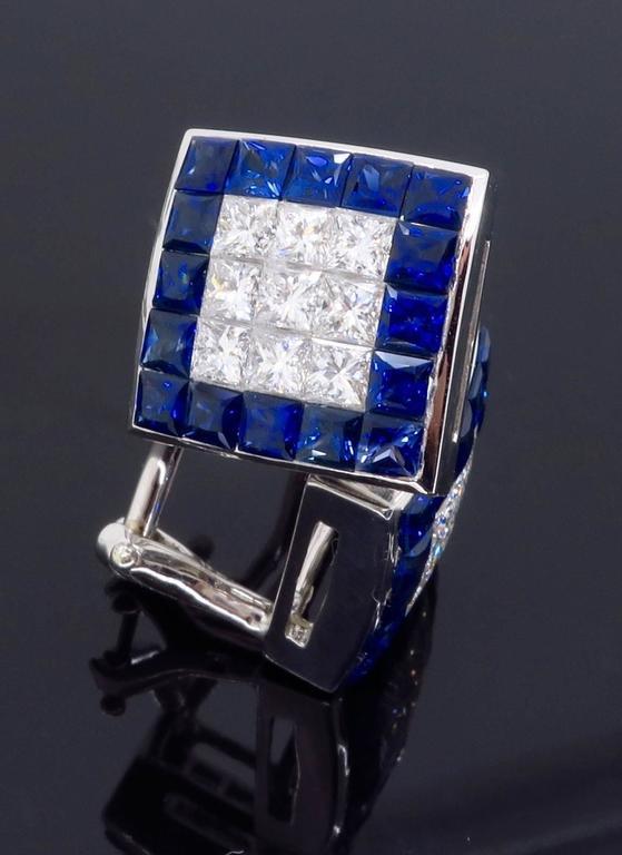 1.44 Carat Sapphire Diamond White Gold Omega Back Earrings For Sale 1